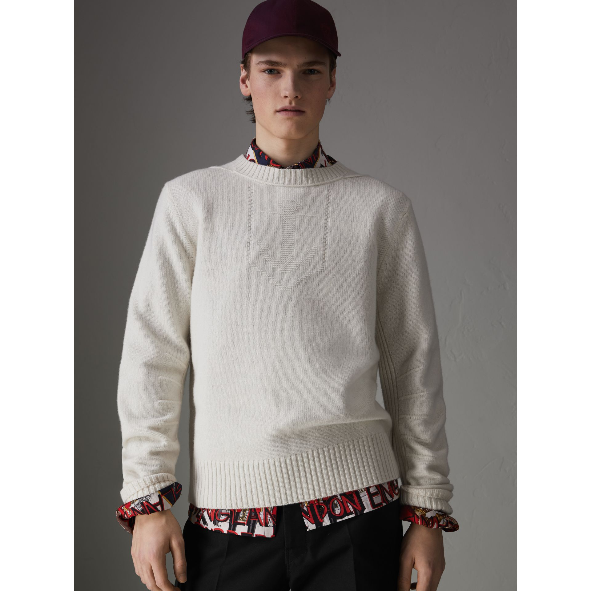 Anchor Intarsia Merino Wool Cashmere Sweater in Natural White - Men | Burberry Australia - gallery image 0