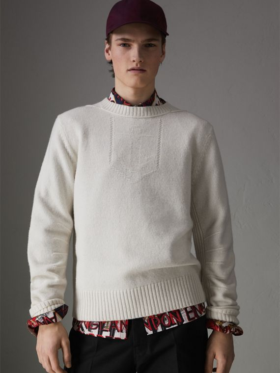 Anchor Intarsia Merino Wool Cashmere Sweater in Natural White