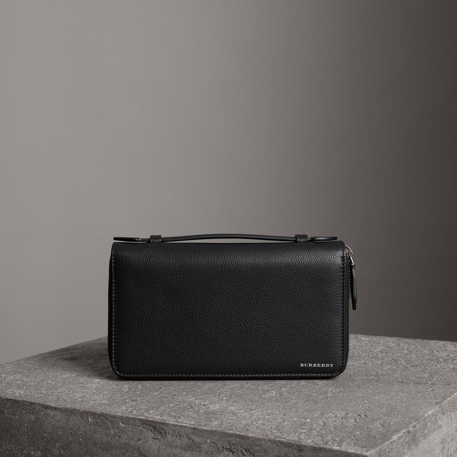 Grainy Leather Travel Wallet in Black - Men | Burberry Australia - gallery image 0