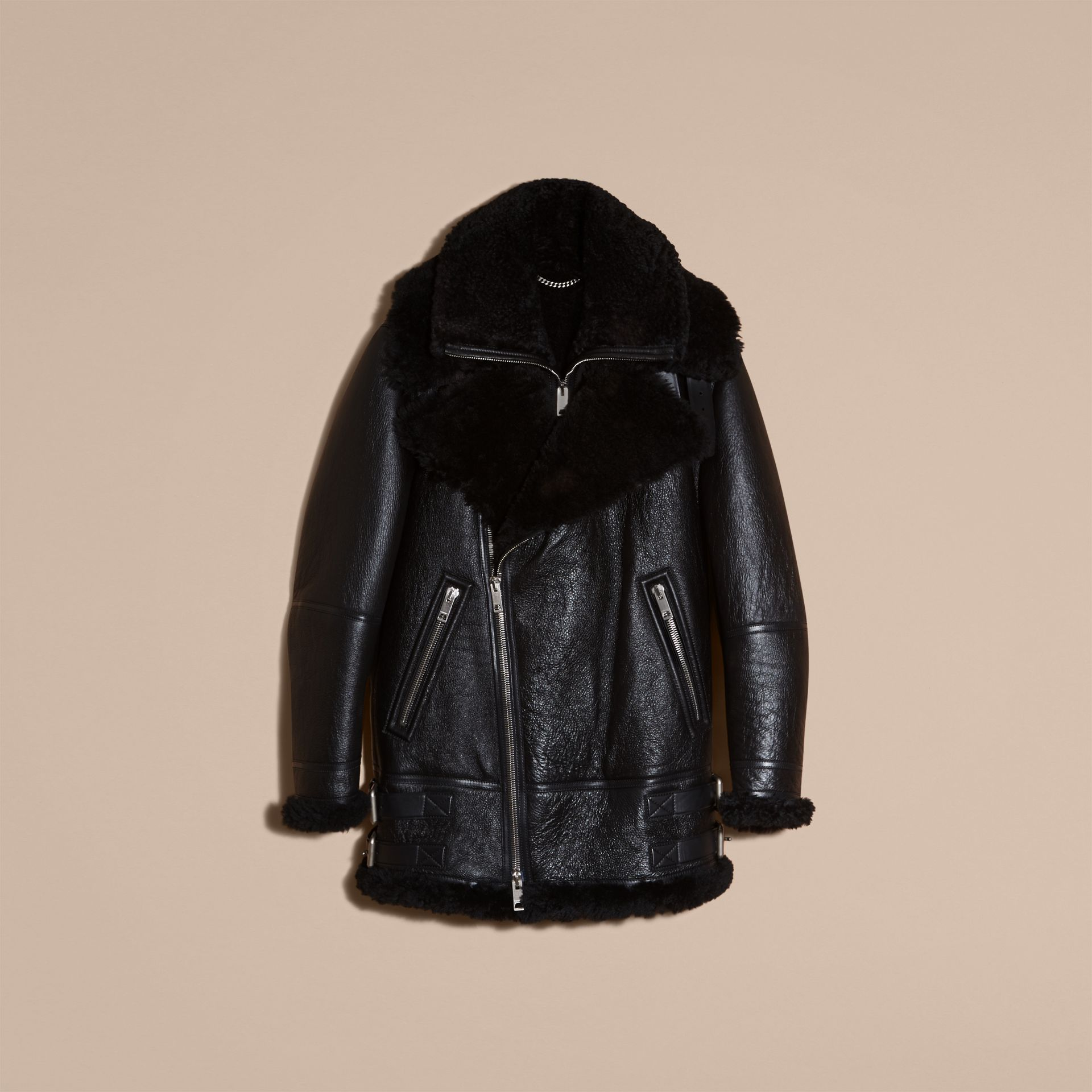 Black Long-line Shearling Aviator Jacket with Zip-out Bib - gallery image 4