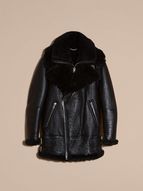 Black Long-line Shearling Aviator Jacket with Zip-out Bib - cell image 3