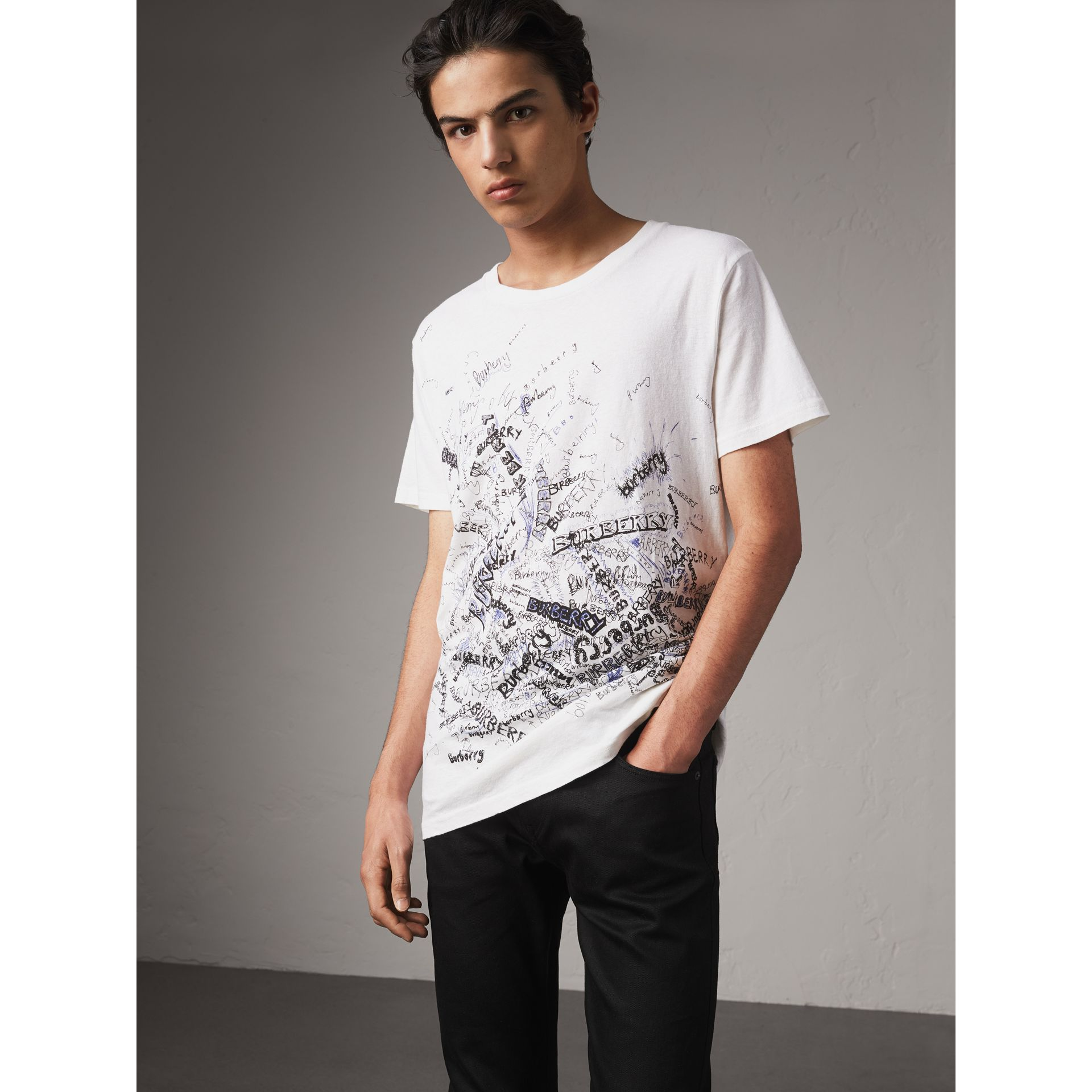 Doodle Print Cotton T-shirt in White - Men | Burberry - gallery image 4