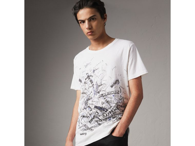 Doodle Print Cotton T-shirt in White - Men | Burberry - cell image 4