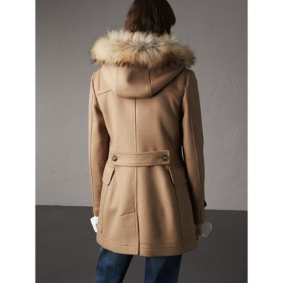 Detachable Fur Trim Wool Duffle Coat in Camel - Women | Burberry