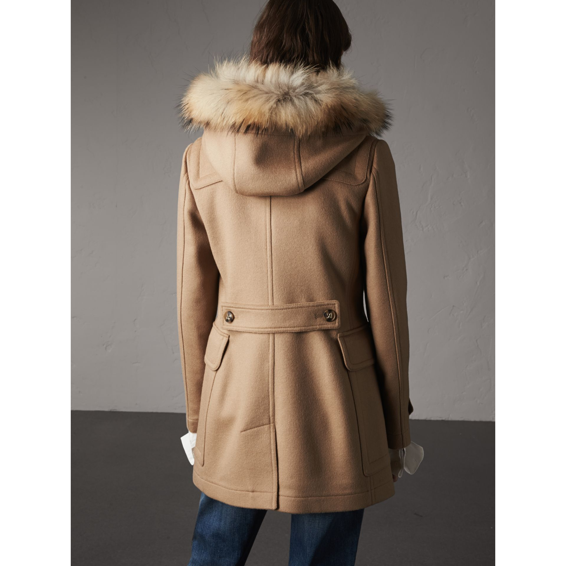 Detachable Fur Trim Wool Duffle Coat in Camel - gallery image 3