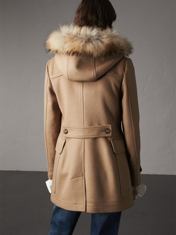 Detachable Fur Trim Wool Duffle Coat in Camel - cell image 2