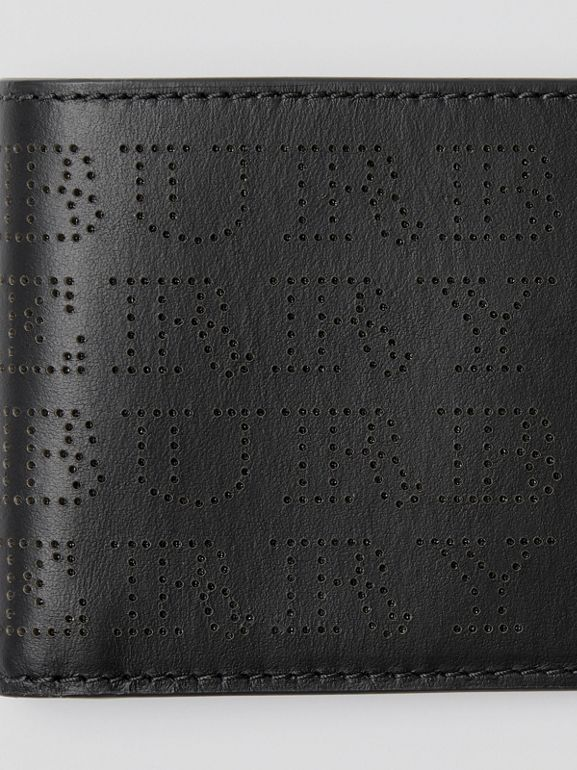 Perforated Logo Leather Bifold Wallet in Black - Men | Burberry - cell image 1