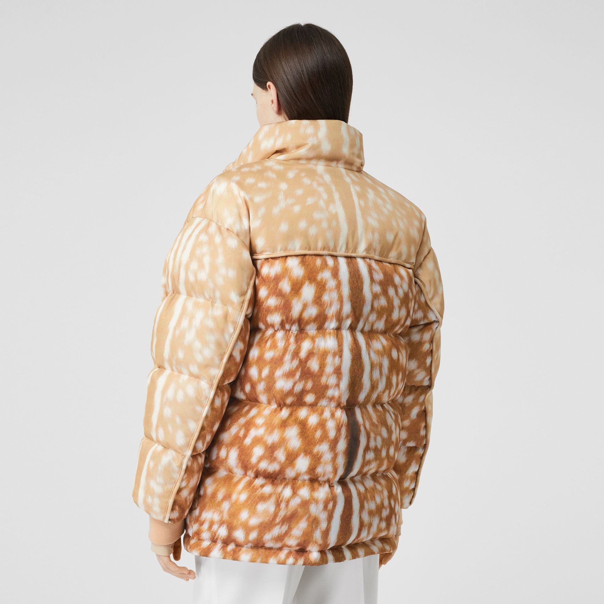 Deer Print ECONYL® Puffer Jacket in Honey - Women | Burberry - gallery image 2