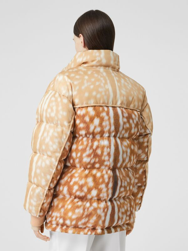 Deer Print ECONYL® Puffer Jacket in Honey - Women | Burberry - cell image 2