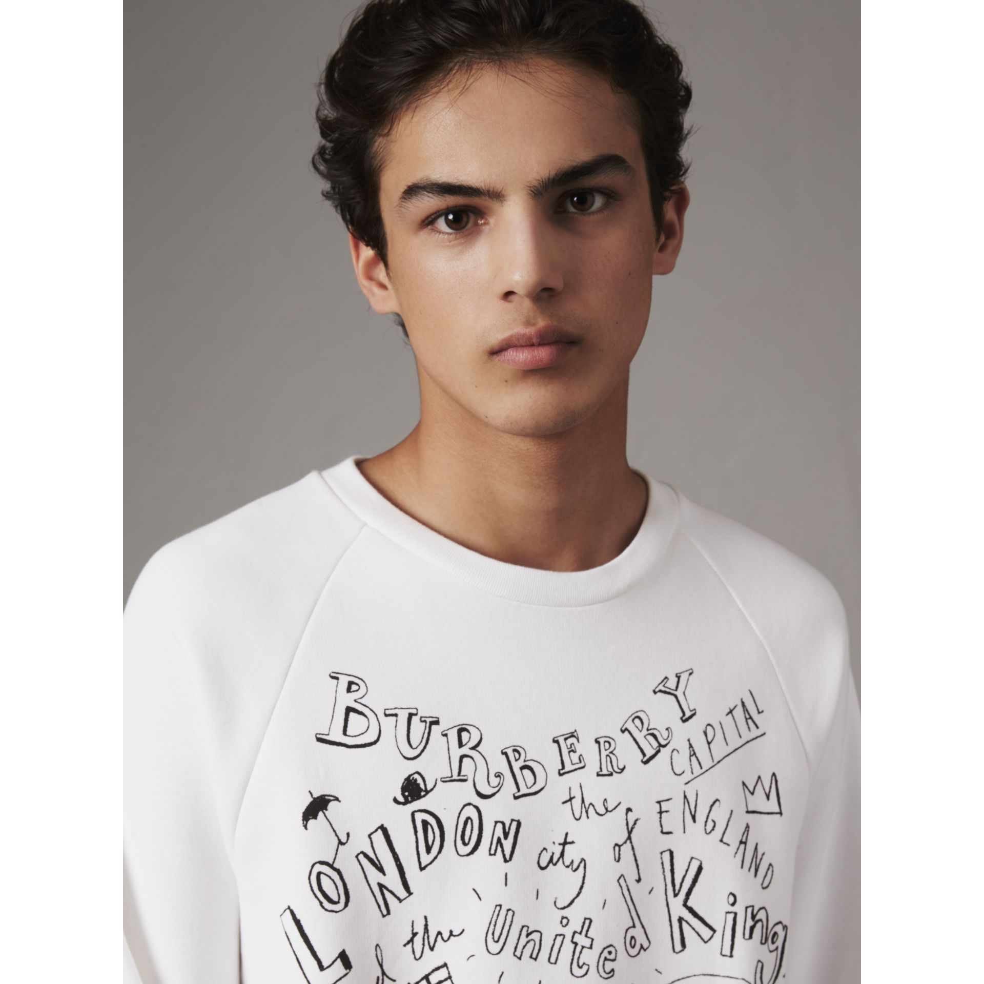 London Icons Print Sweatshirt in White - Men | Burberry - gallery image 1