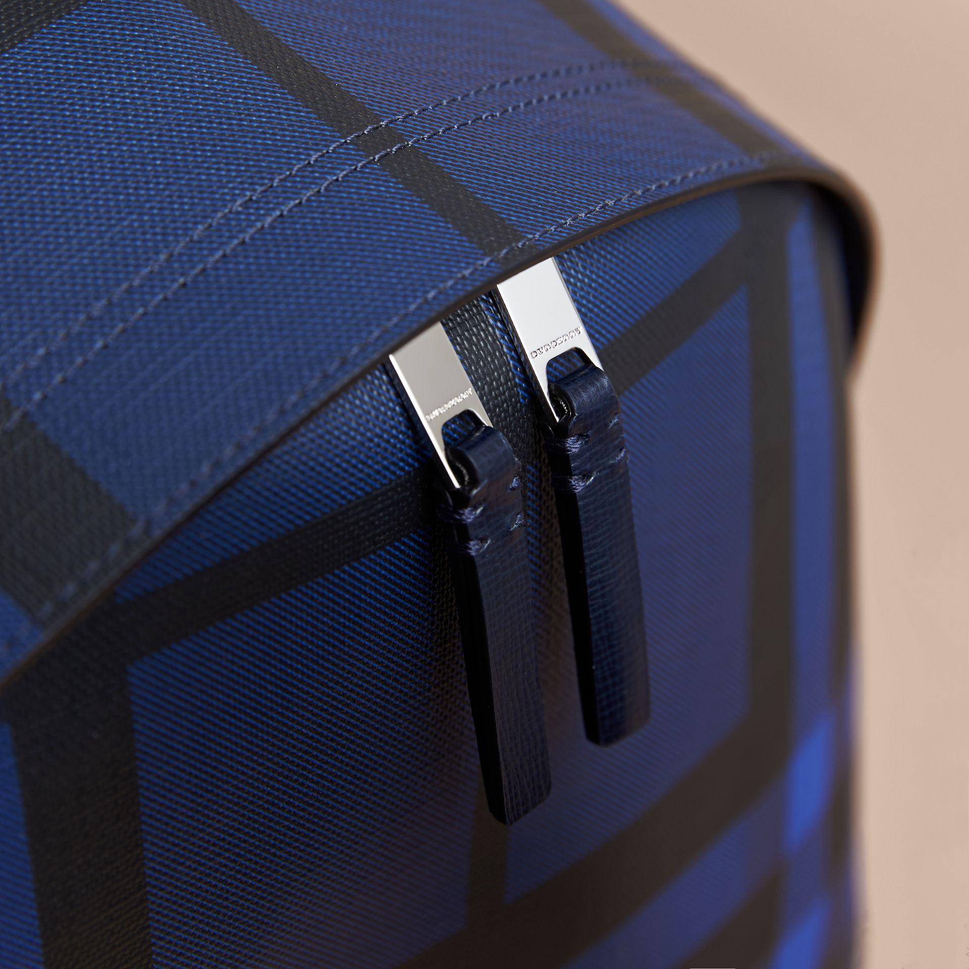 Leather Trim London Check Backpack in Bright Lapis - Men | Burberry - gallery image 2