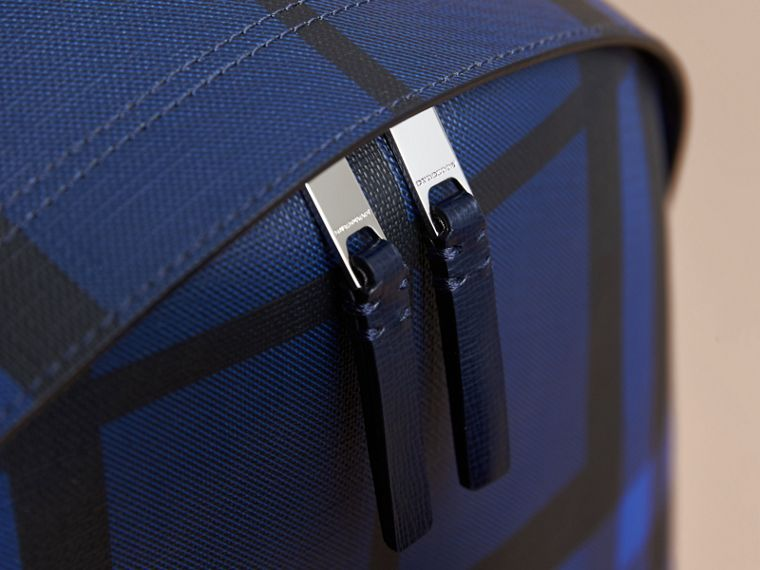 Leather Trim London Check Backpack in Bright Lapis - Men | Burberry United Kingdom - cell image 1