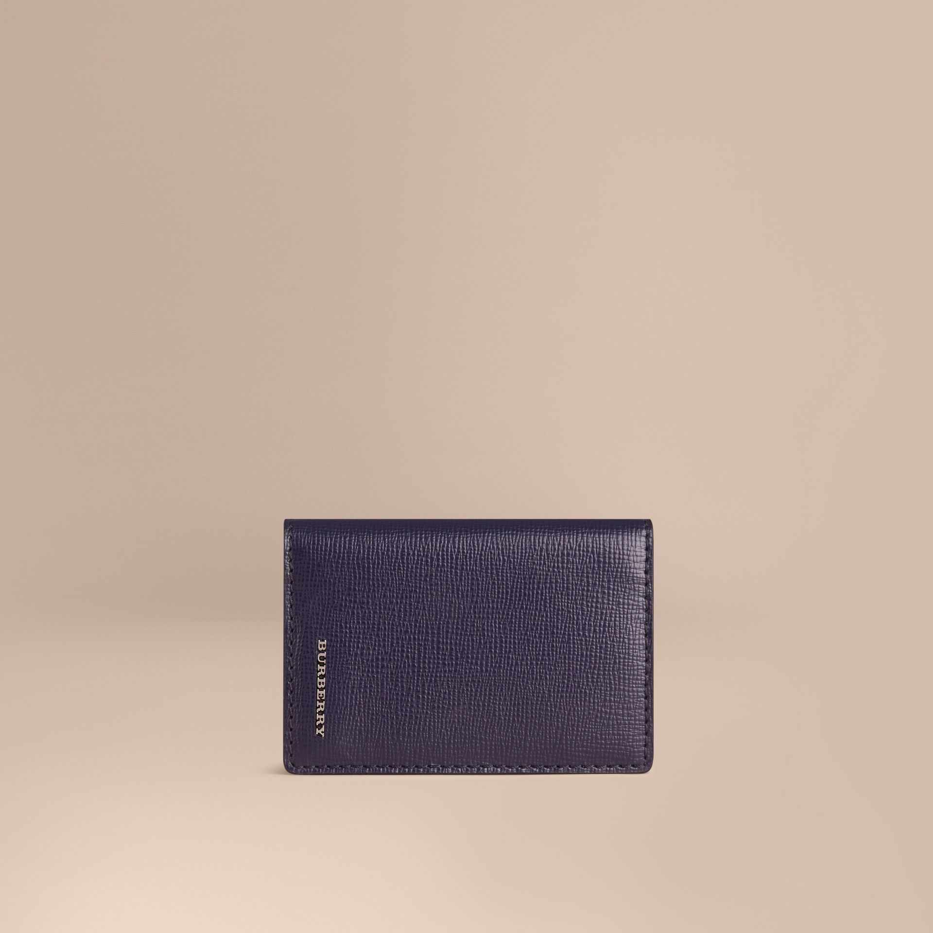 London Leather Folding Card Case in Dark Navy | Burberry - gallery image 1