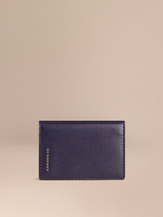 London Leather Folding Card Case in Dark Navy