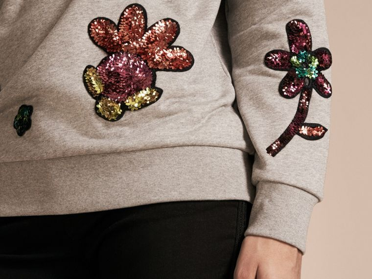 Pale grey melange Sequin Floral Appliqué Cotton Sweatshirt Pale Grey Melange - cell image 4