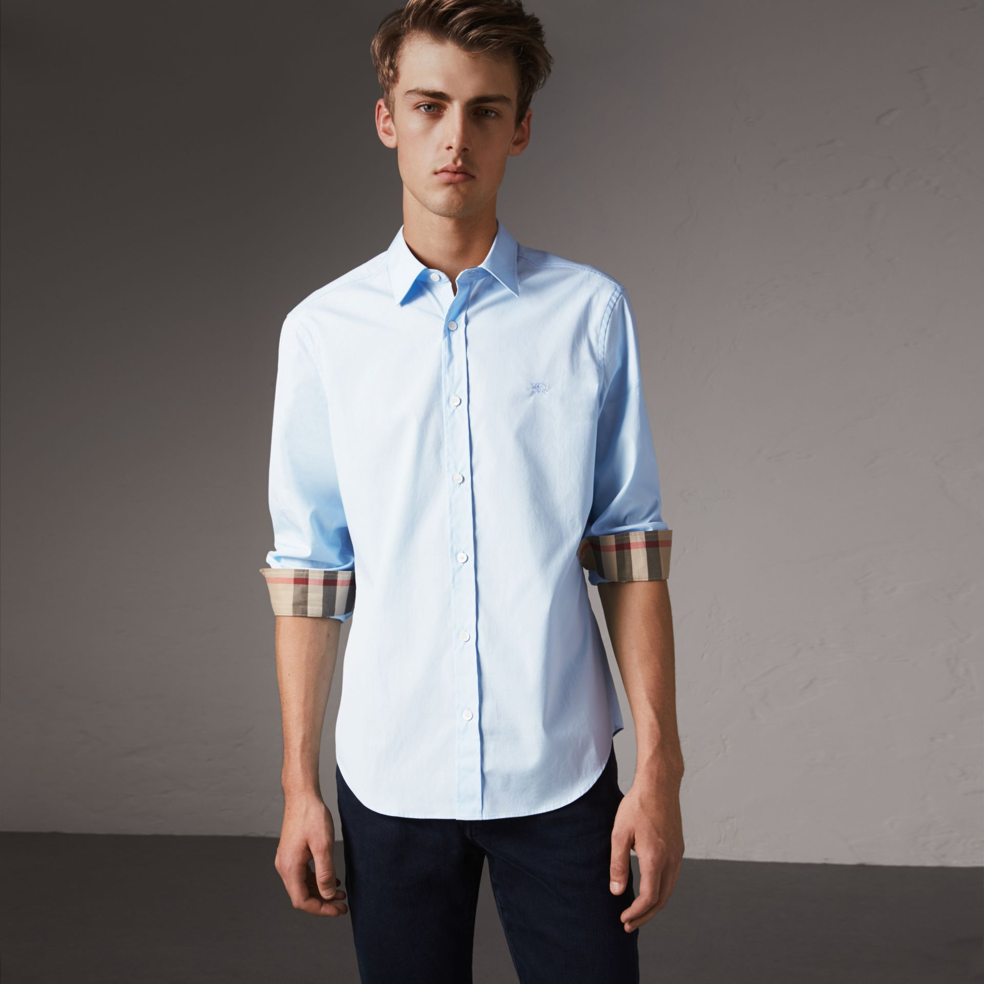 Check Detail Stretch Cotton Poplin Shirt in Pale Blue - Men | Burberry - gallery image 0
