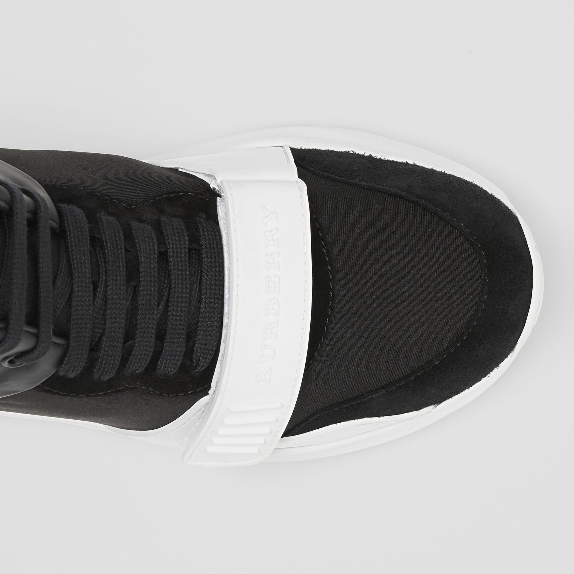 Suede and Neoprene High-top Sneakers in Black/optic White | Burberry Australia - gallery image 1