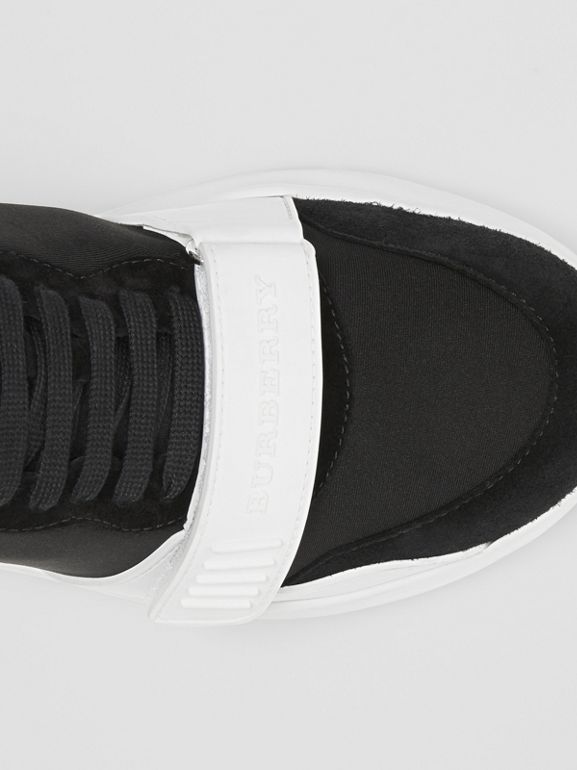 Suede and Neoprene High-top Sneakers in Black/optic White | Burberry Australia - cell image 1