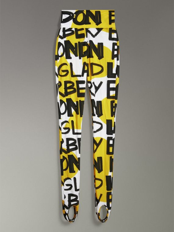 Graffiti Print Leggings in Bright Yellow - Women | Burberry - cell image 3