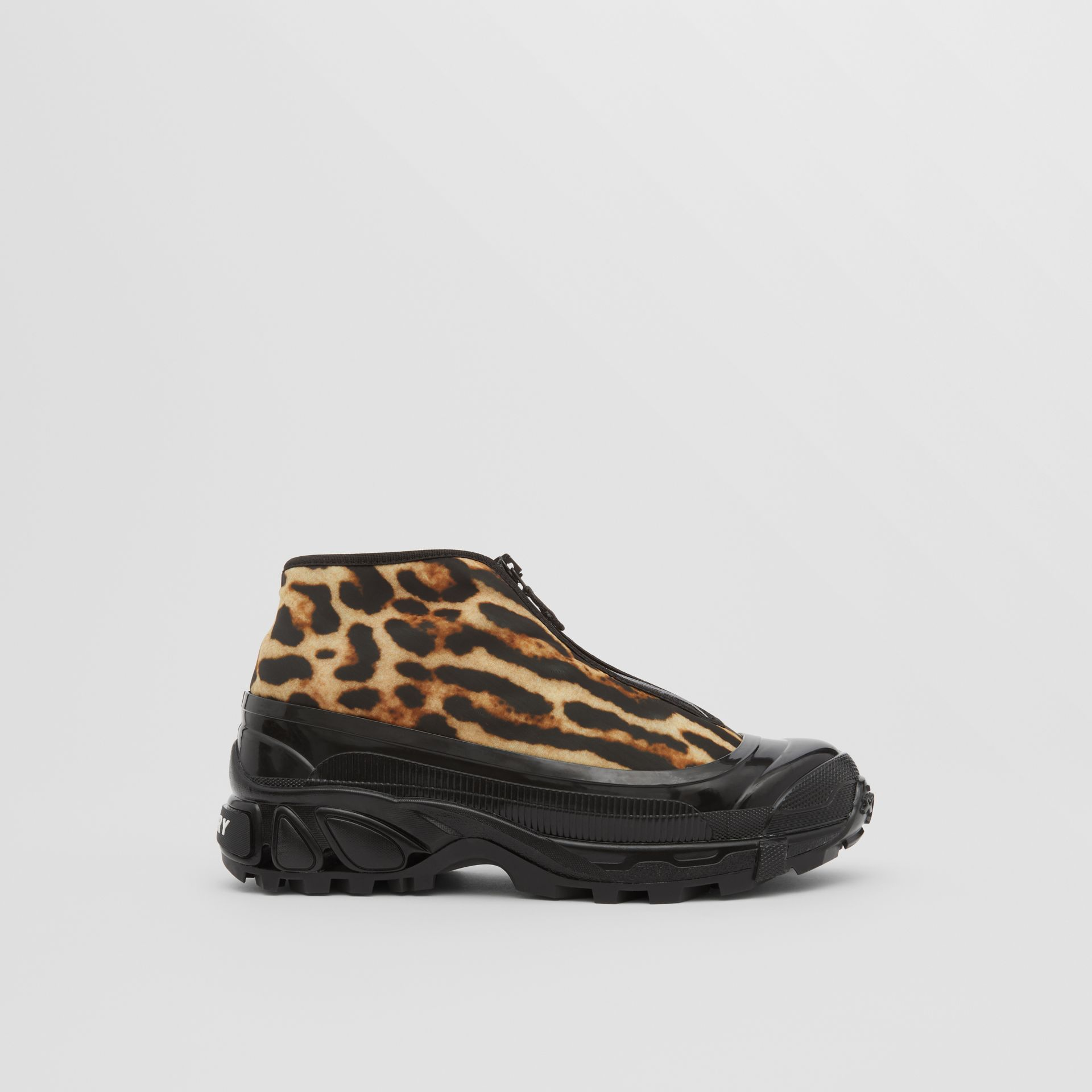 Leopard Print Nylon Arthur Sneakers in Camel - Women | Burberry - gallery image 5