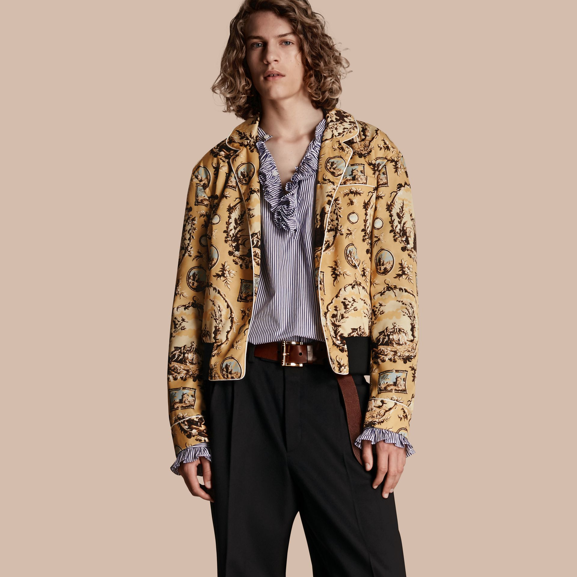 Yellow barley Wallpaper Print Bomber Jacket - gallery image 7