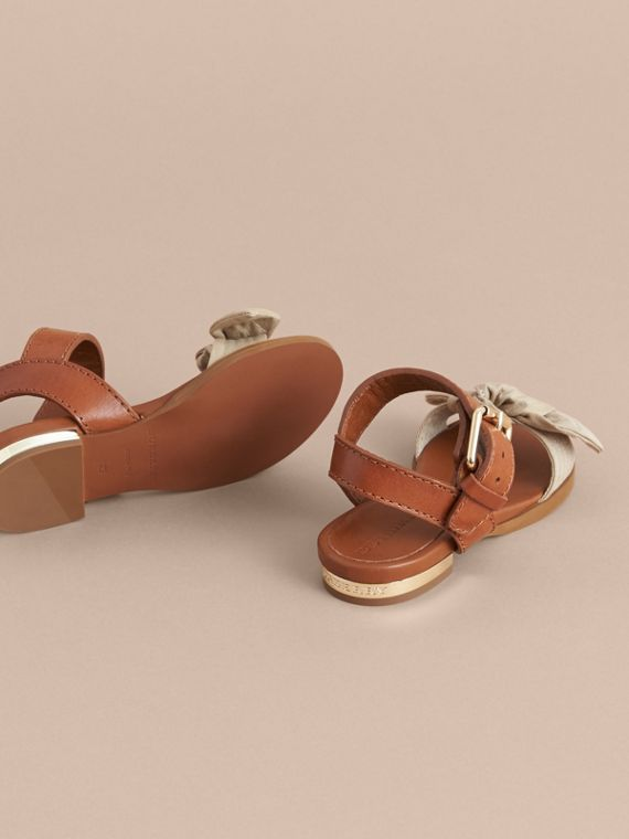 Cotton Gabardine Bow Detail and Leather Sandals - Children | Burberry - cell image 3