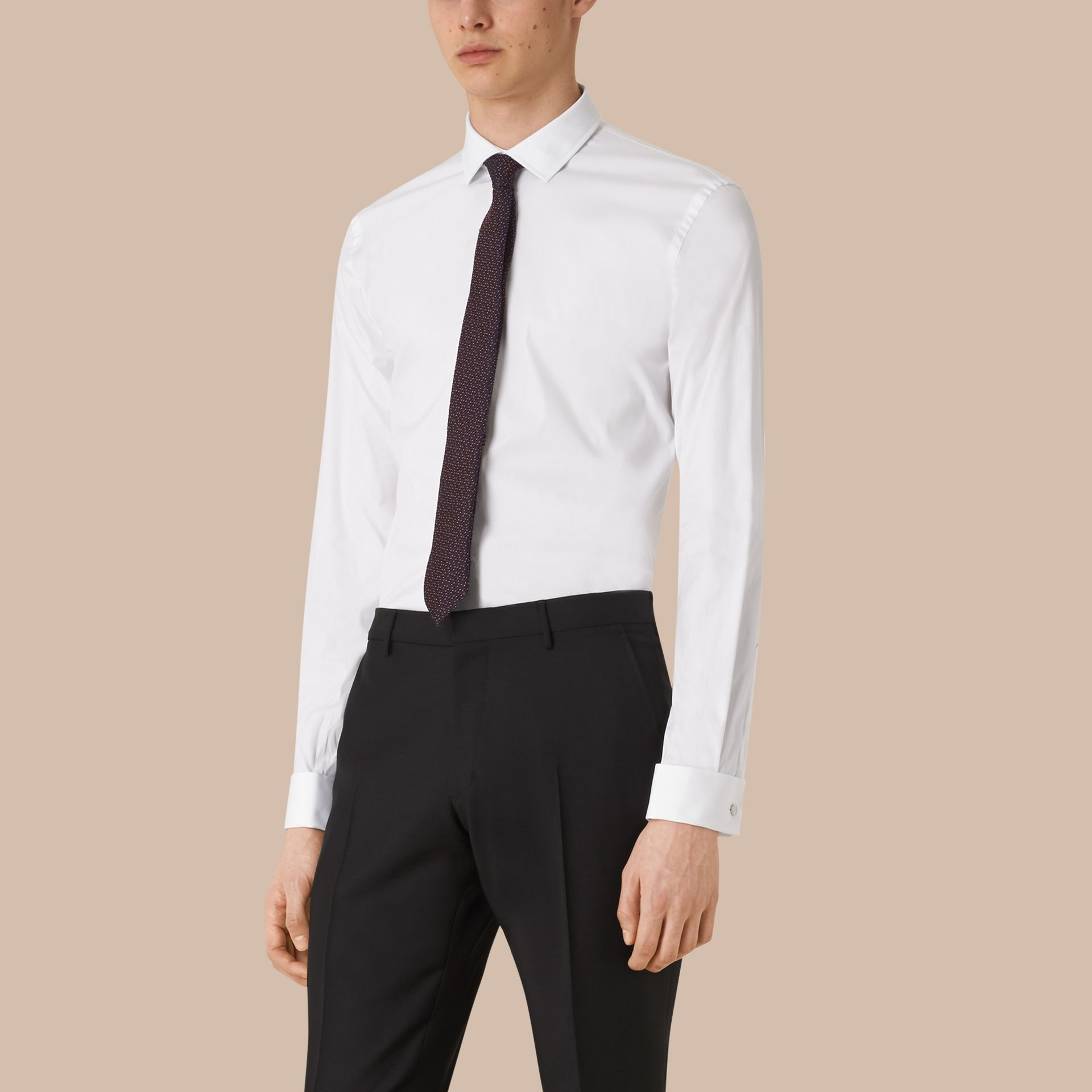 White Slim Fit Double-cuff Stretch Cotton Poplin Shirt - gallery image 1