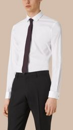 Slim Fit Double-cuff Stretch Cotton Poplin Shirt