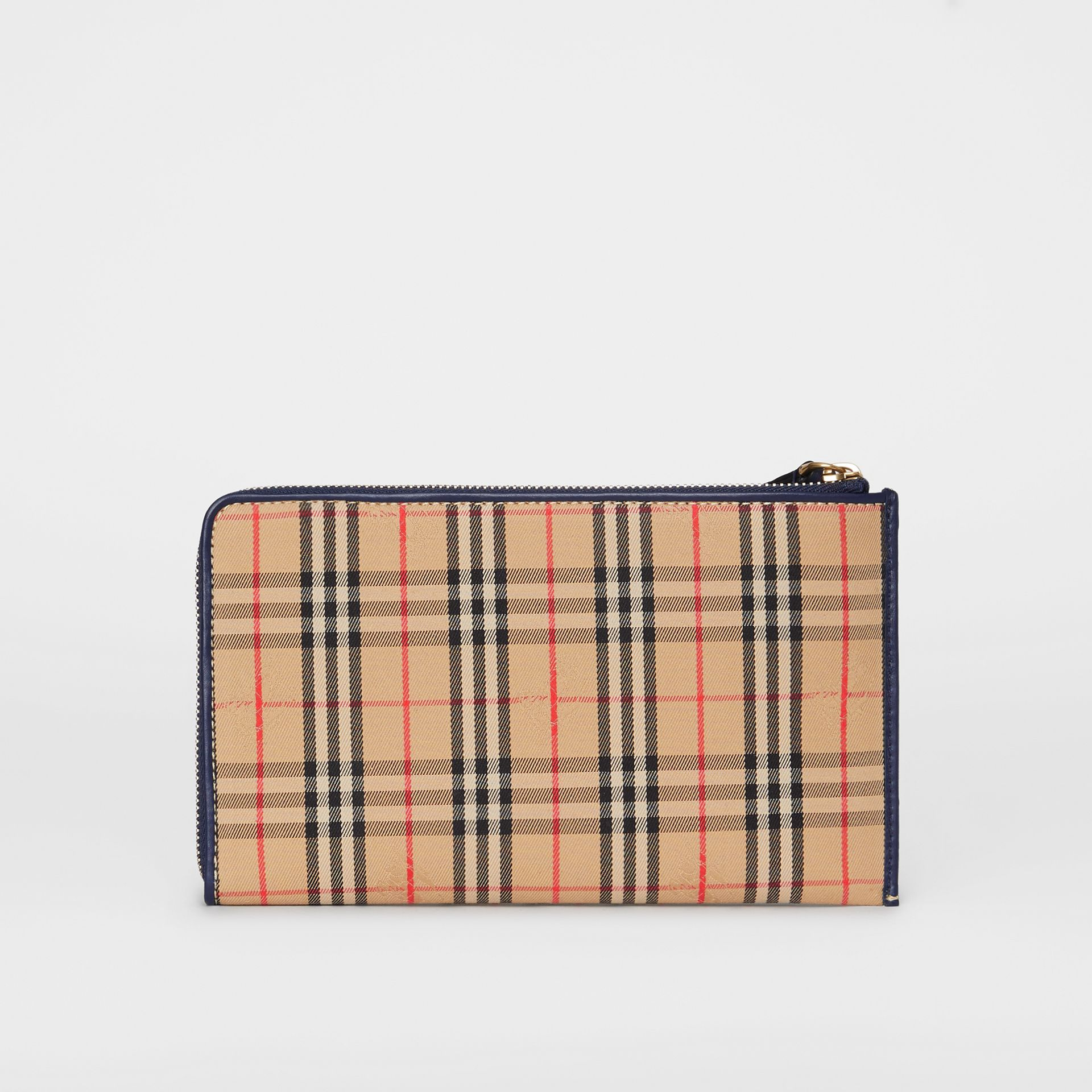 1983 Check and Leather Travel Wallet in Ink Blue - Men | Burberry - gallery image 8