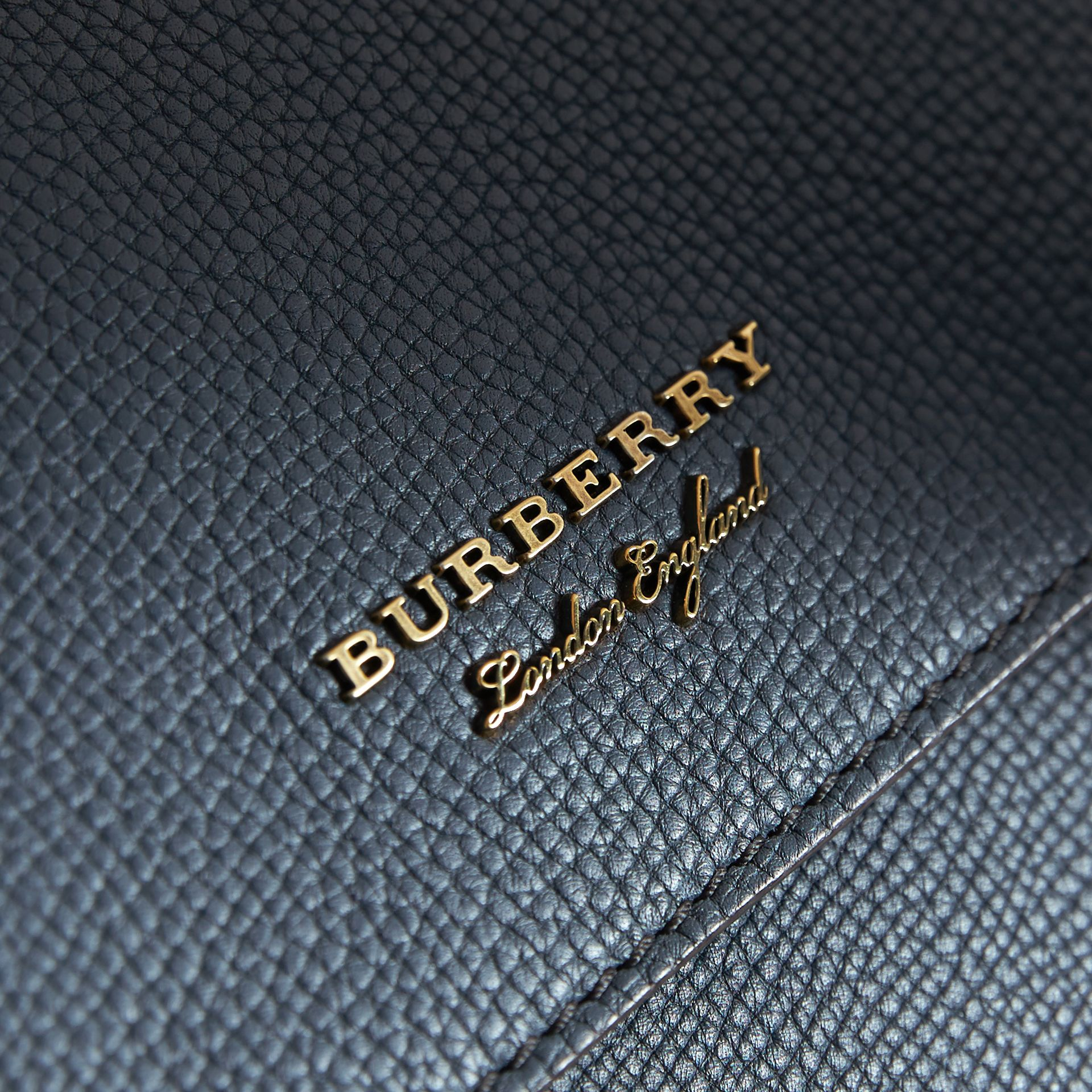 Leather and House Check Satchel in Storm Blue - Men | Burberry - gallery image 2