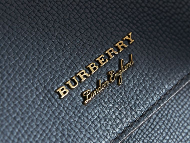 Leather and House Check Satchel in Storm Blue - Men | Burberry - cell image 1