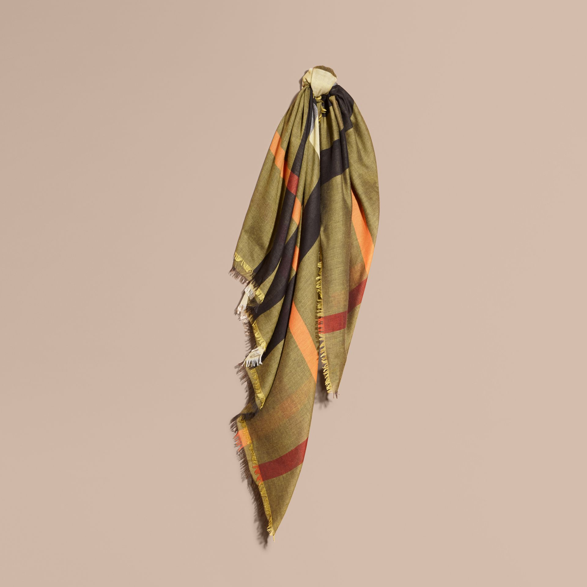 Check Modal and Wool Square Scarf in Amber Yellow - gallery image 1