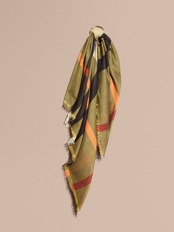 Check Modal and Wool Square Scarf Amber Yellow