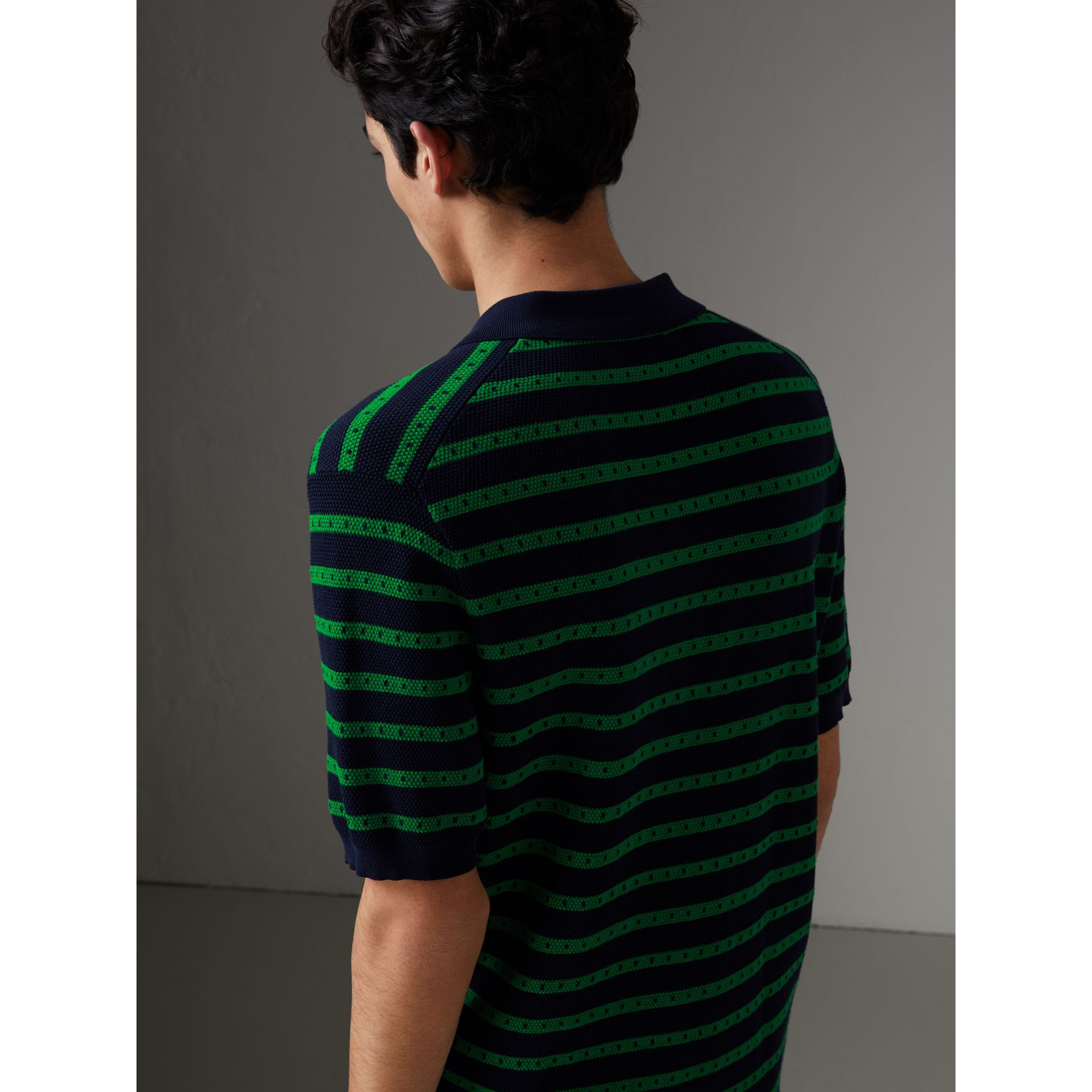 Striped Knitted Cotton Polo Shirt in Deep Navy - Men | Burberry Canada - gallery image 2