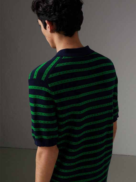 Striped Knitted Cotton Polo Shirt in Deep Navy - Men | Burberry United Kingdom - cell image 2