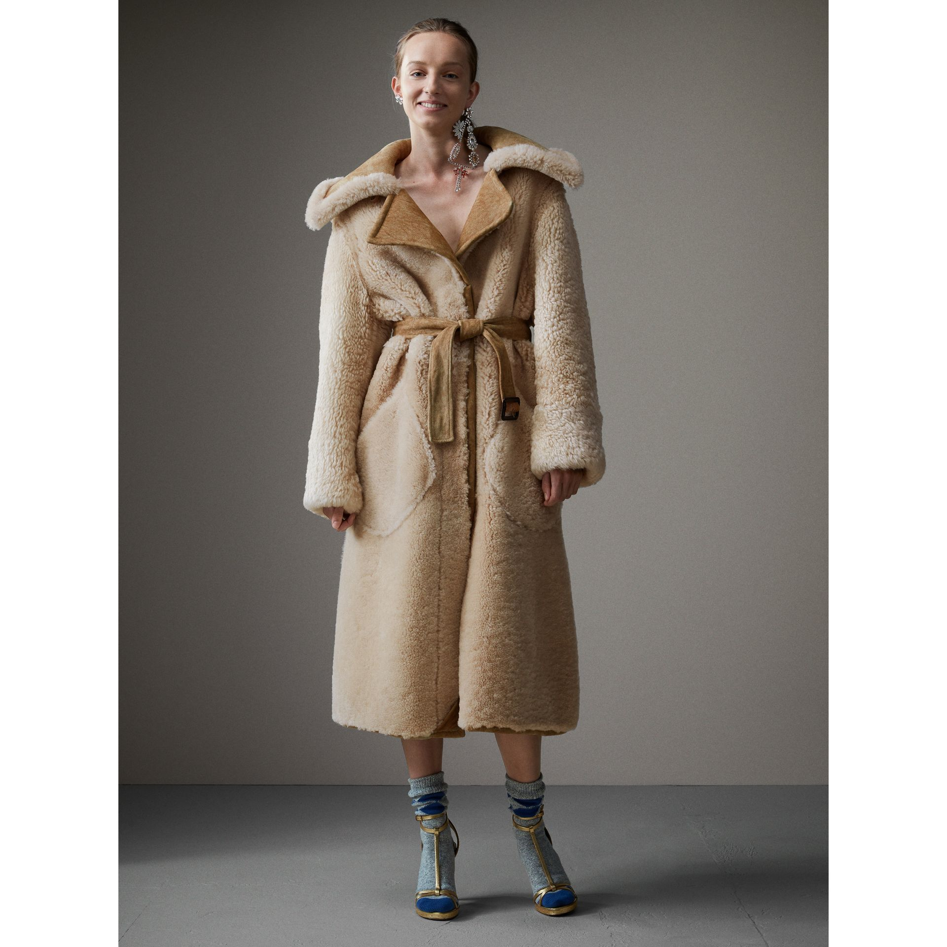 Shearling Oversized Belted Coat in Camel/off White - Women | Burberry - gallery image 6