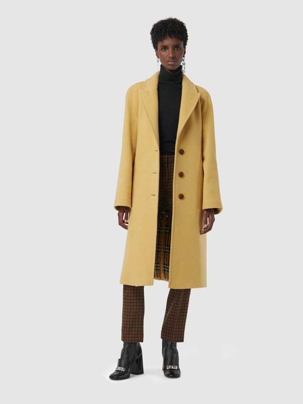 Wool Blend Tailored Coat in Camomile - Women | Burberry - cell image 3