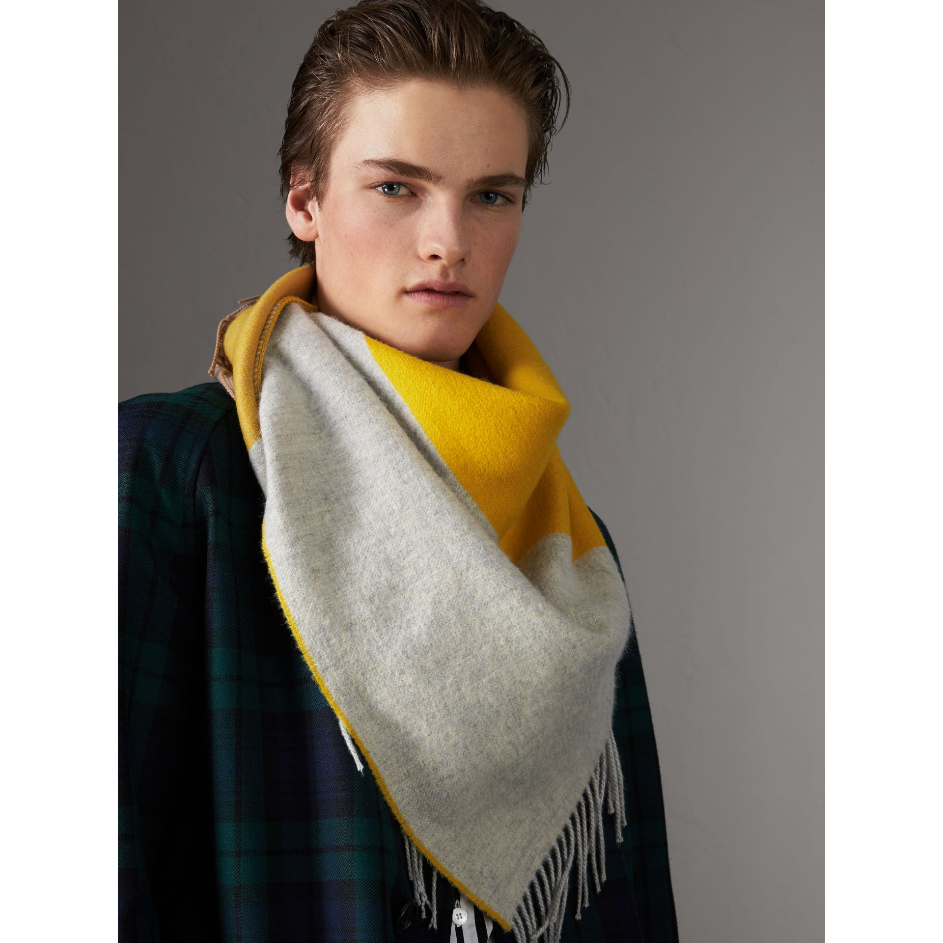 The Burberry Bandana in Striped Cashmere in Gorse Yellow | Burberry Australia - gallery image 7