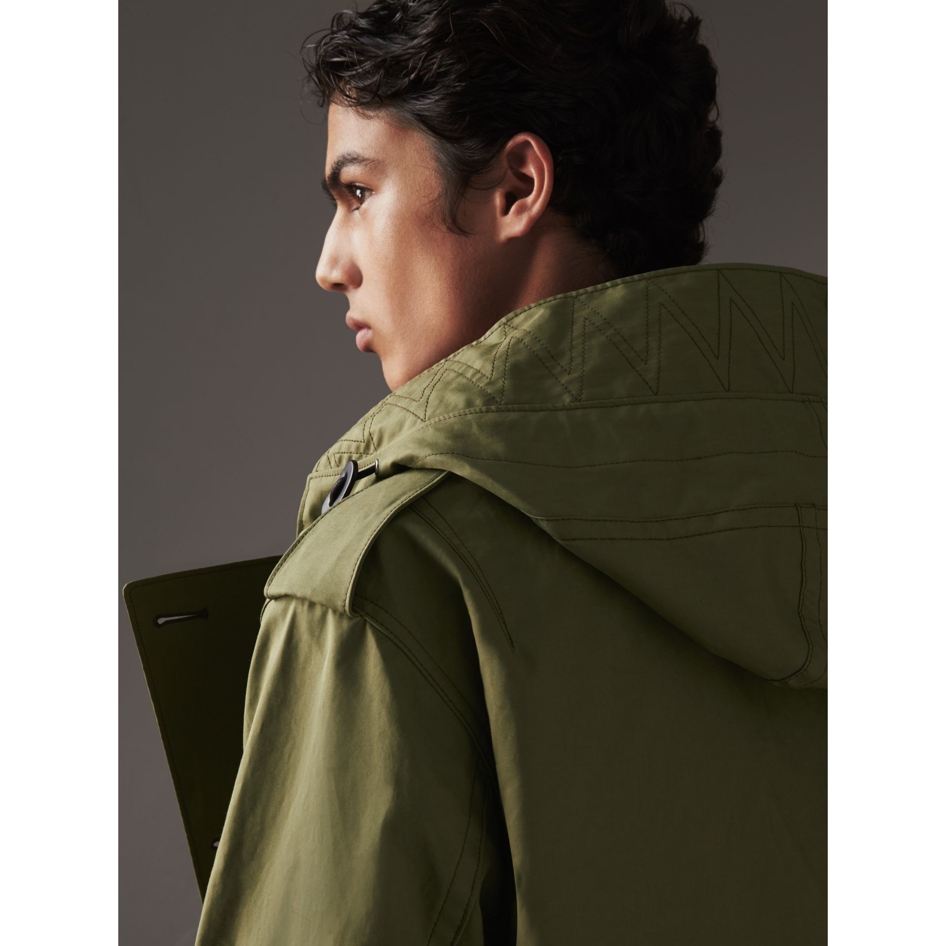 Bonded Cotton Parka with Detachable Warmer in Khaki Green - Men | Burberry - gallery image 2