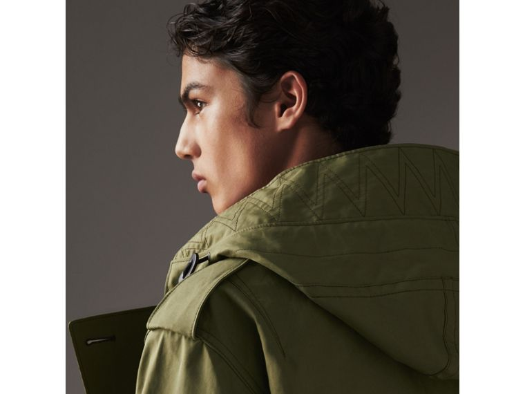 Bonded Cotton Parka with Detachable Warmer in Khaki Green - Men | Burberry United Kingdom - cell image 1