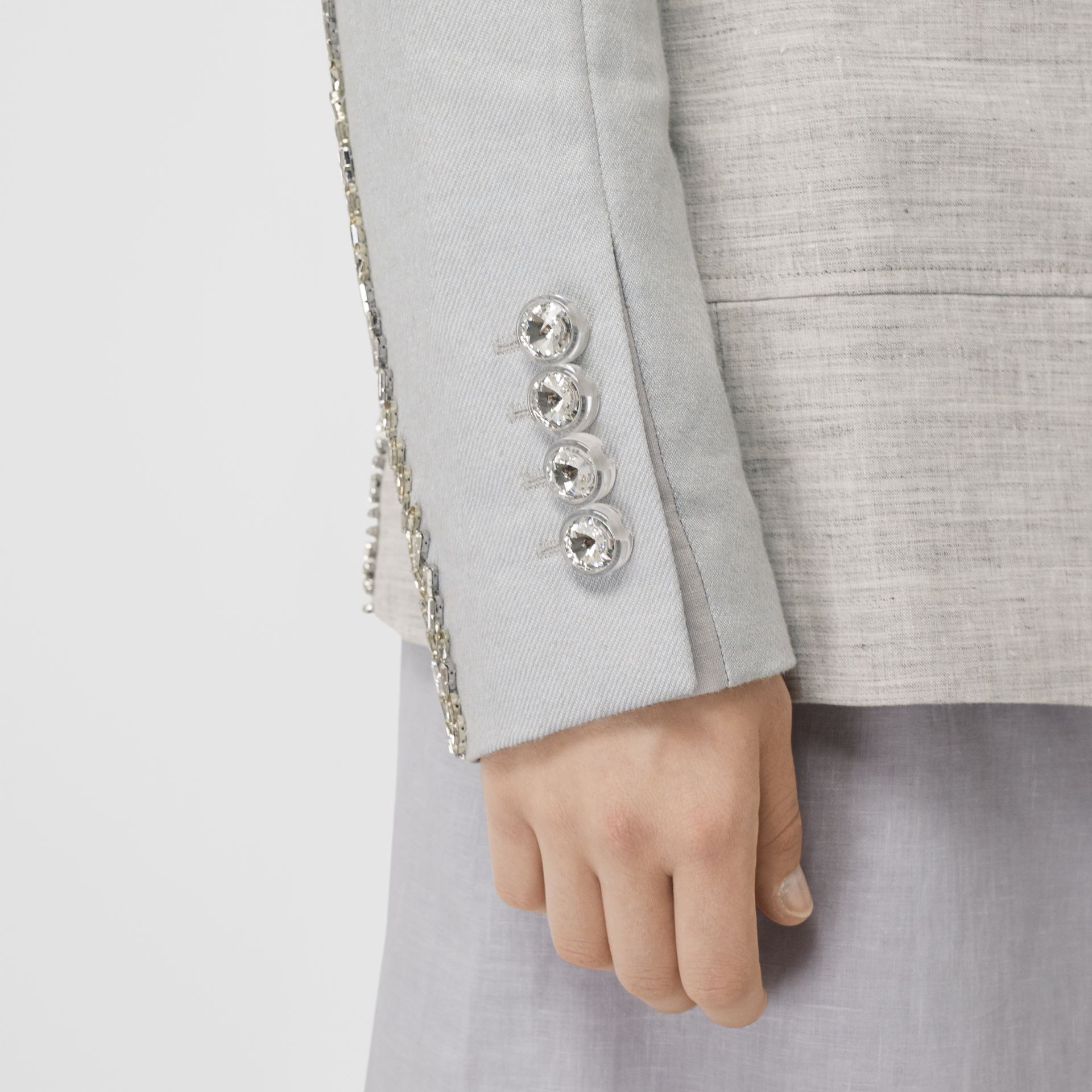 Crystal Embroidered Technical Linen Blazer in Grey Melange - Women | Burberry - gallery image 4