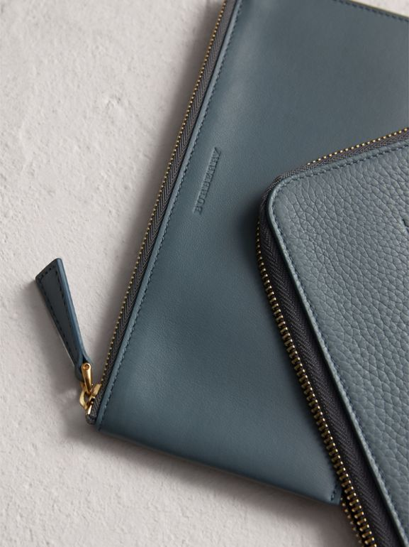 Embossed Leather Travel Wallet in Dusty Teal Blue | Burberry - cell image 1