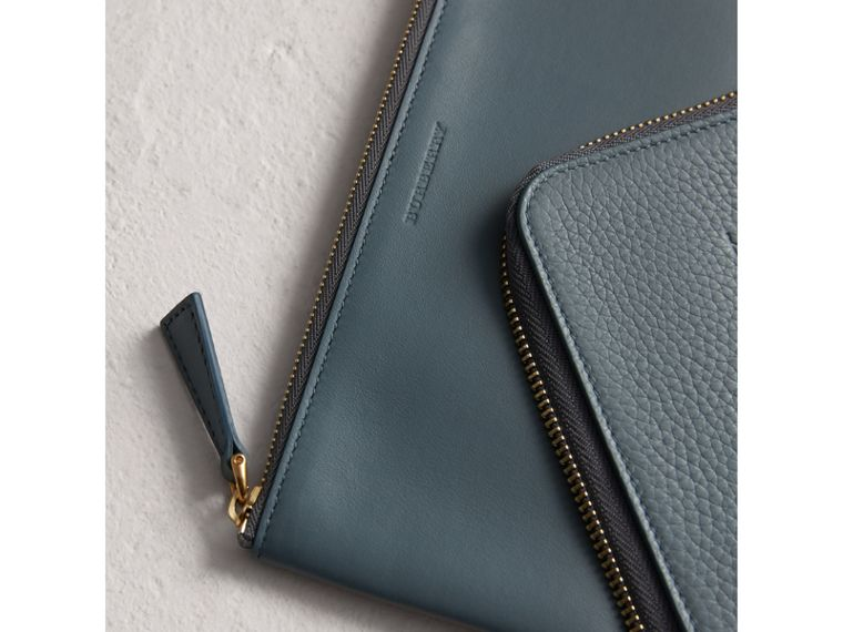 Embossed Leather Travel Wallet in Dusty Teal Blue | Burberry United Kingdom - cell image 1