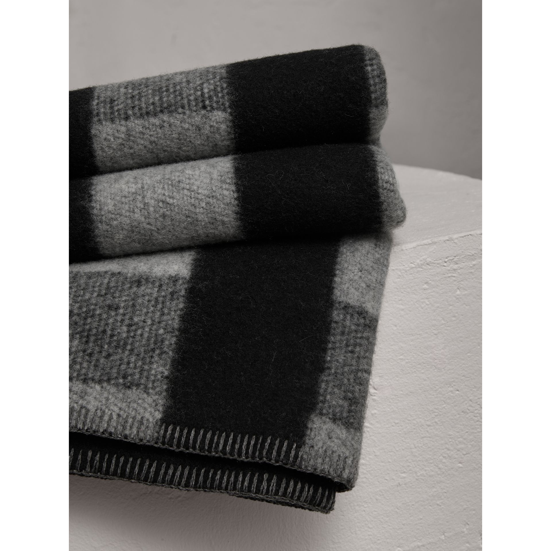 Check Wool Cashmere Blanket in Dark Grey | Burberry Australia - gallery image 1