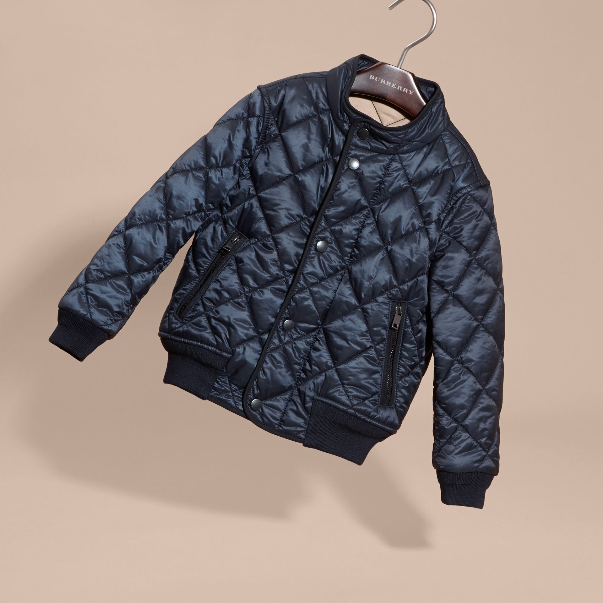 Ink blue Lightweight Quilted Bomber Jacket - gallery image 3