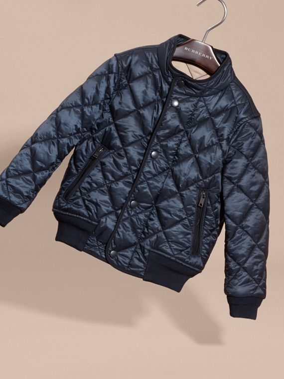 Ink blue Lightweight Quilted Bomber Jacket - cell image 2