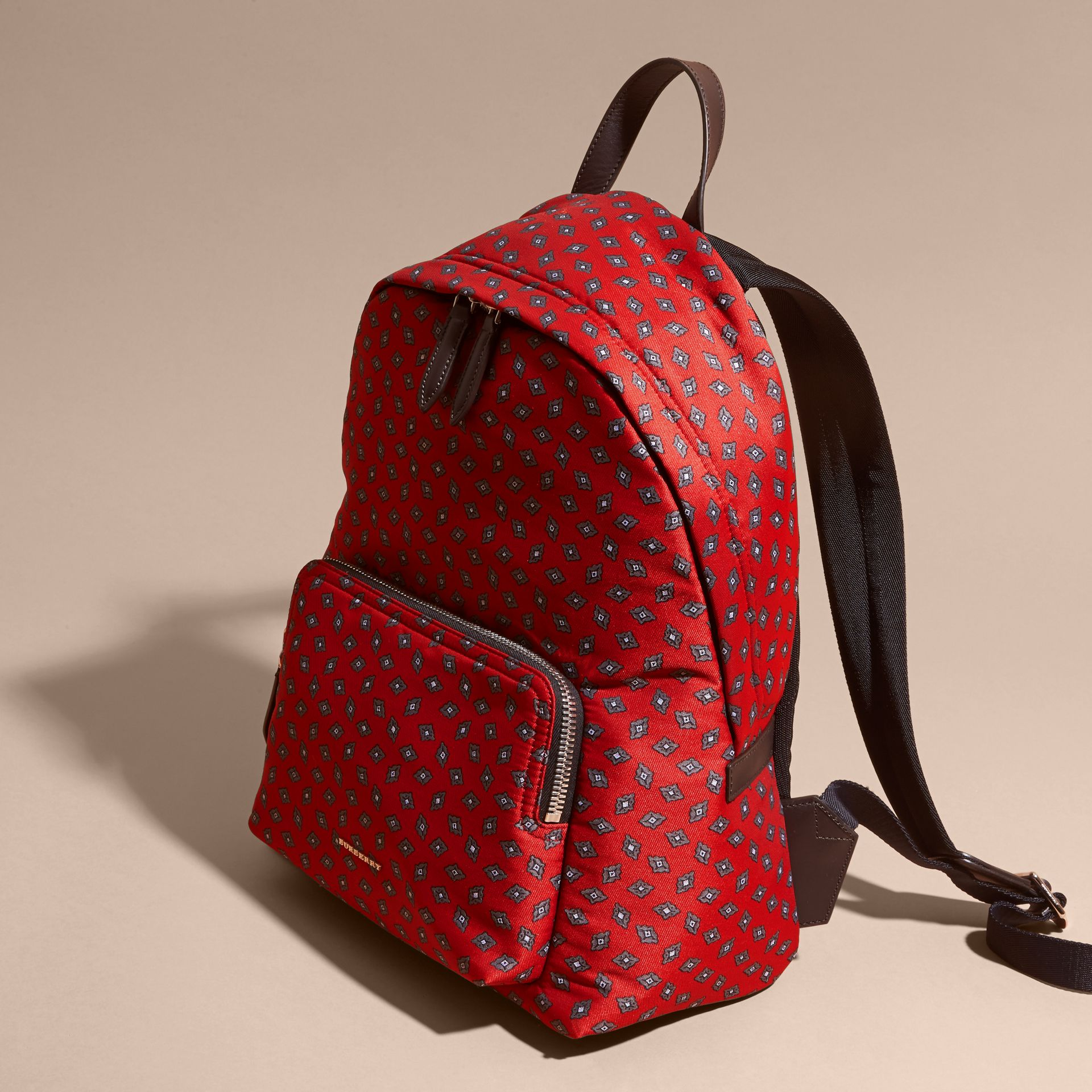 Military red Leather Trim Abstract Jacquard Backpack Military Red - gallery image 7