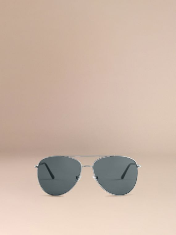 Silver Check Arm Aviator Sunglasses Silver - cell image 2