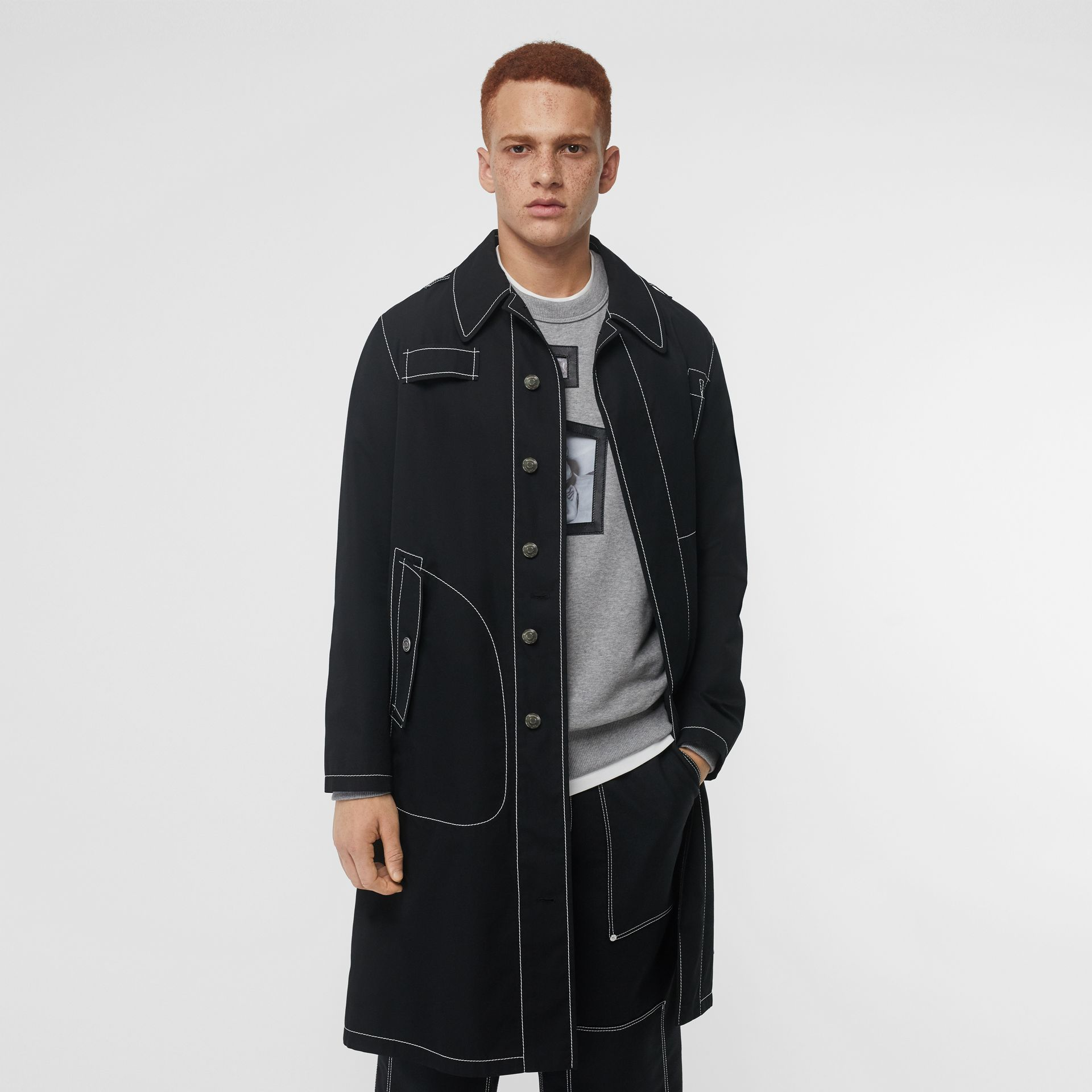 Topstitch Detail Cotton Gabardine Car Coat in Black - Men | Burberry - gallery image 4
