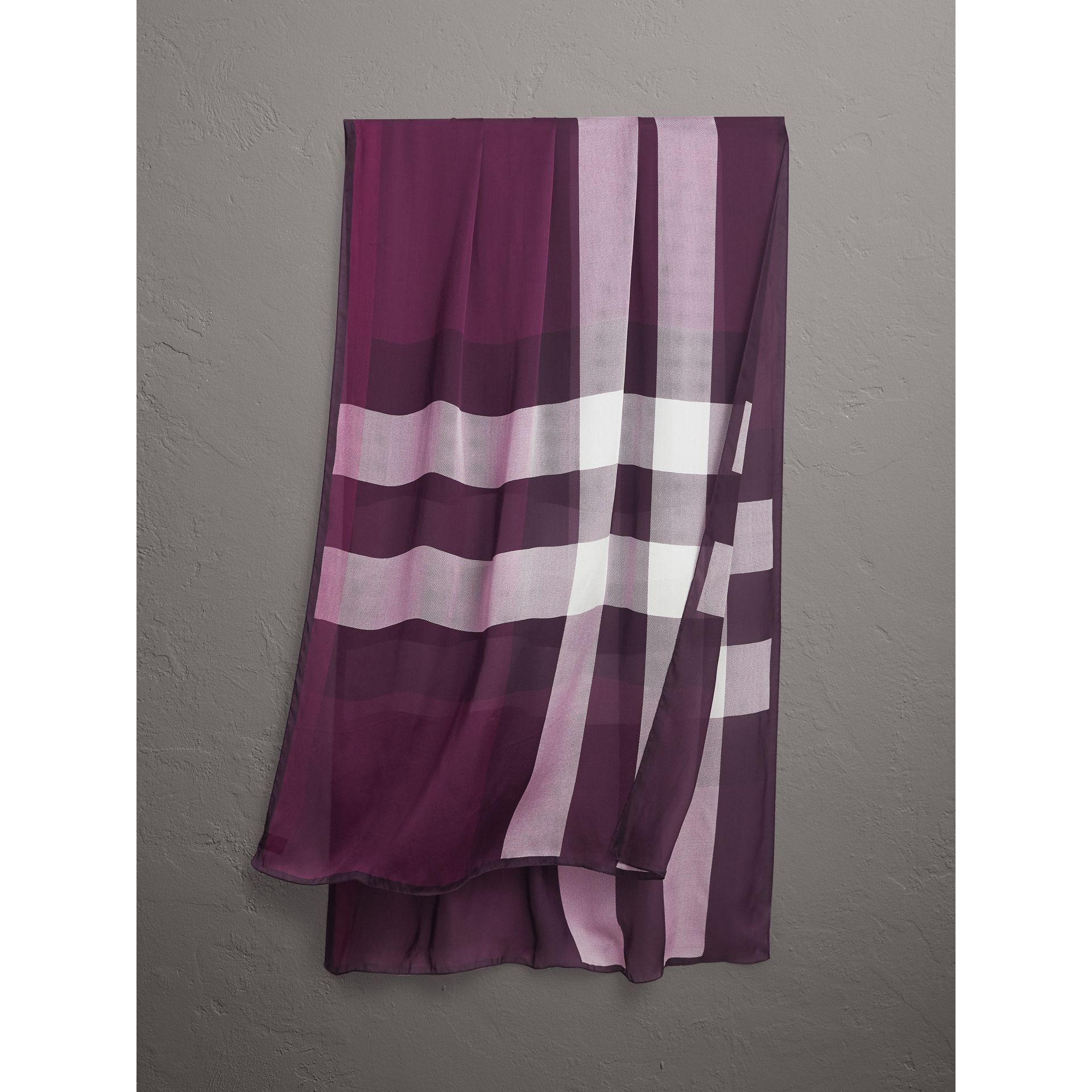 Lightweight Check Silk Scarf in Aubergine - Women | Burberry - gallery image 1